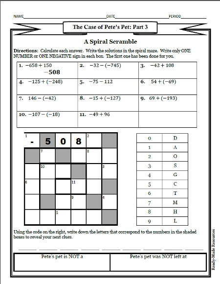 math worksheet : subtracting integers worksheet puzzle  adding subtracting  : Adding Subtracting Integers Worksheets